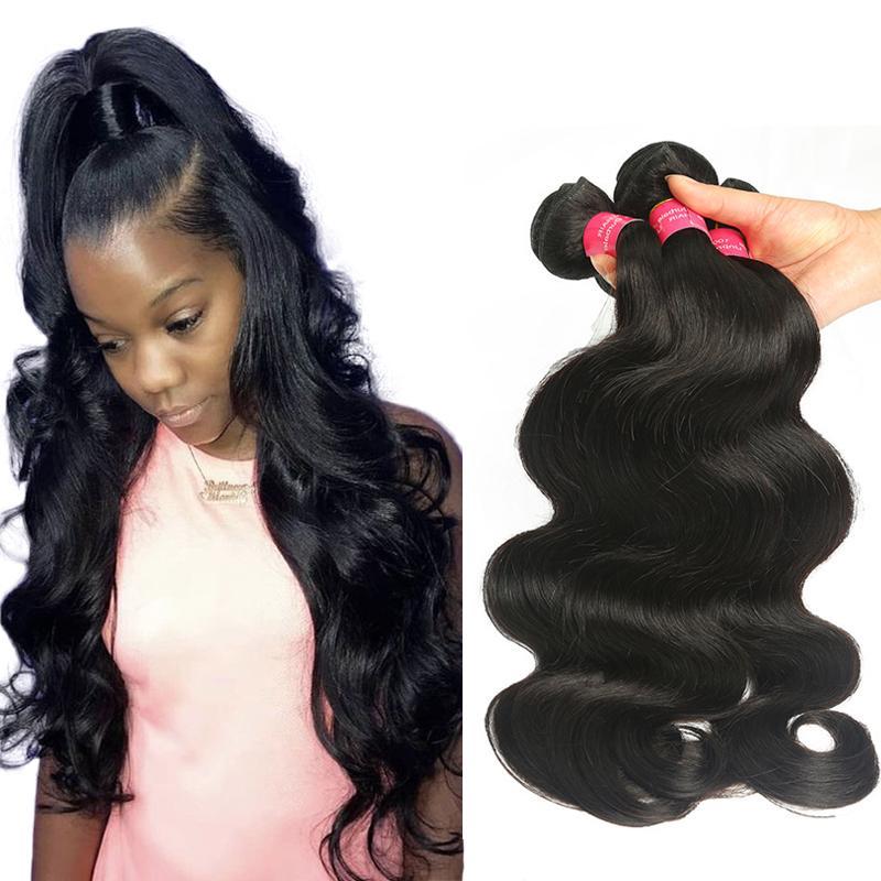 pelo brasileño recto bruto brasileño de la Virgen del pelo humano teje la onda del cuerpo 3/4 extensiones de cabello humano paquetes de color natural