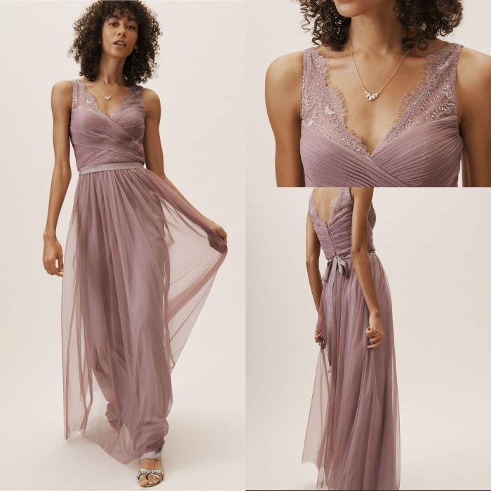 뜨거운 판매 라인 V 넥 신부 들러리 드레스 바닥 길이 얇은 명주 그물 레이스 해변 신부 들러리 드레스 망치 웨딩 파티 이브닝 드레스