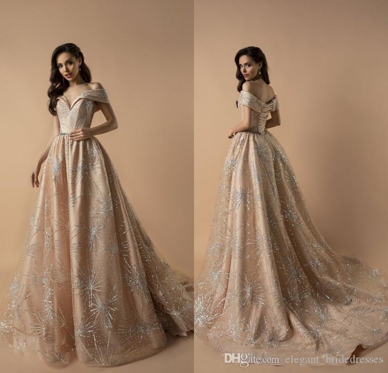 Champagne 2019 Berta Prom Dresses Bordare la spalla perline Abiti da sera Lace-Up Indietro Plus Size Donne Abito formale da festa