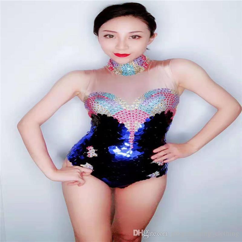 kurzes Stück Overall Partei Sänger Tanzkostüme bar Abnutzungskleid Spiegel dj Outfits ärmel D20 Bunte weibliche Body Sequin Strecke ds