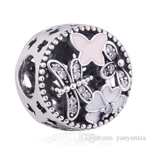 Оригинальные ювелирные изделия стерлингового серебра 925 шарма шарика Vintage Ажурных Springtime шарики приспосабливают женщина браслет ожерелье DIY