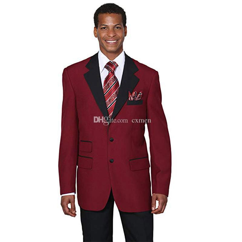 Wine Red Men Suits for Wedding Custom Made Two-Button Notched Lapel Burgundy Groom Tuxedos Best Man Blazers 3 Pieces jacket Pants Vest
