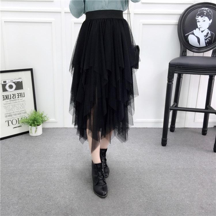 aoxIp primavera y el otoño irregular dobladillo irregular gasa gasa larga larga mullida alta costura de la falda de cintura de la manera de hadas falda a media pierna