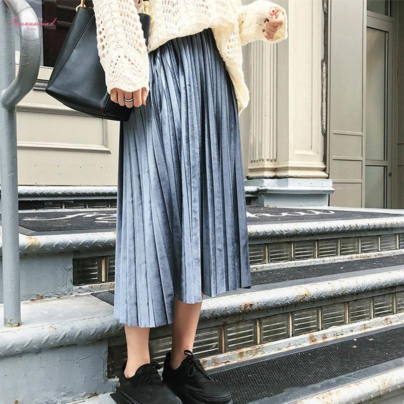 Sólido elegante Midi falda plisada de las mujeres 2019 otoño coreano del invierno de cintura alta Una Escuela Línea falda larga femenina