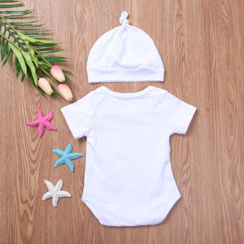 2018 The Prince Has Arrived Newborn Baby Boys Bodysuit Hat 2Pcs Outfits Letters Summer Casual Clothing SS