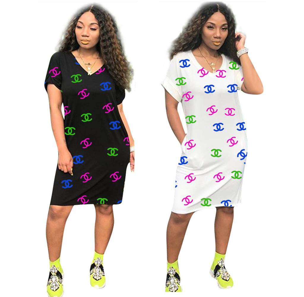 2020 Marca vestidos de impresión de la letra nueva de las mujeres vestidos de gran tamaño caliente del invierno más el tamaño de vestido de Ropa Casual Elegante Vestidos Azul