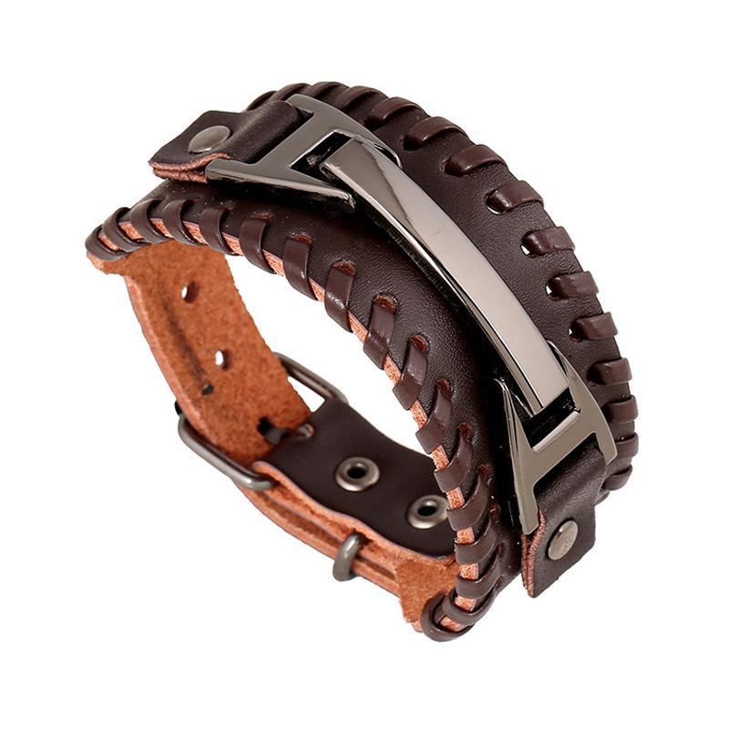 Мужчины Браслет Шарм Vintage Wide кожаные браслеты Gothic Punk Personality рук сплести мужской браслет Заявление ювелирные изделия