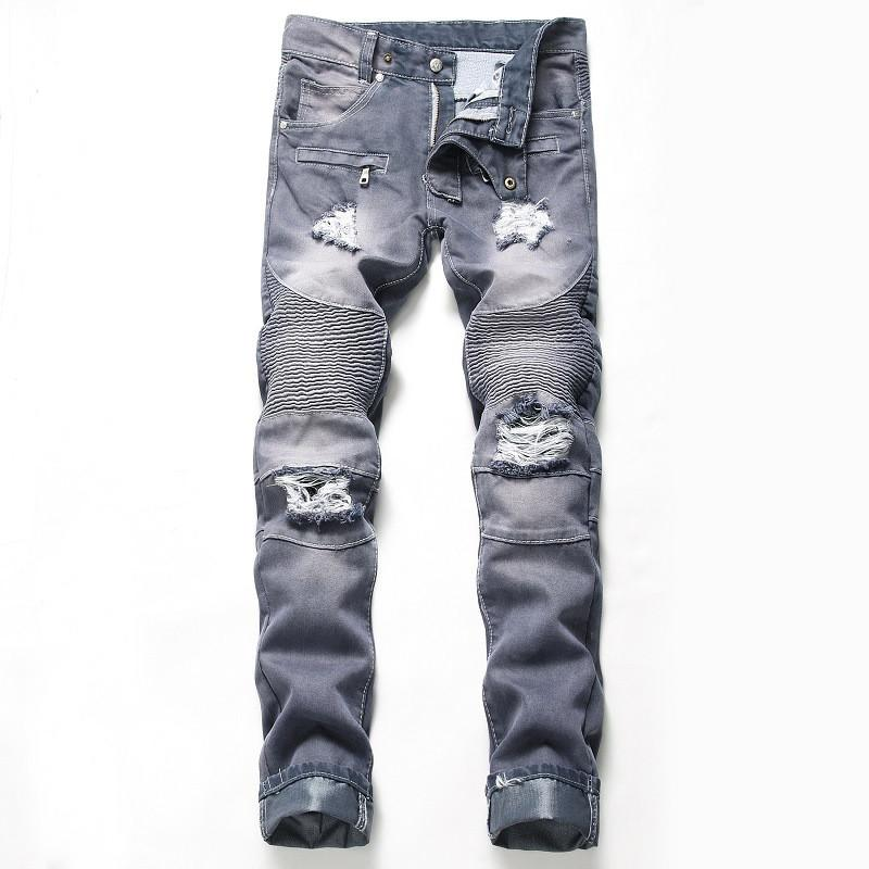 MOUANCLE Men's Hi Street Ripped Biker Jeans With Holes Destroyed Motorcycle Denim Pants Distressed Trousers Plus Size 29-42
