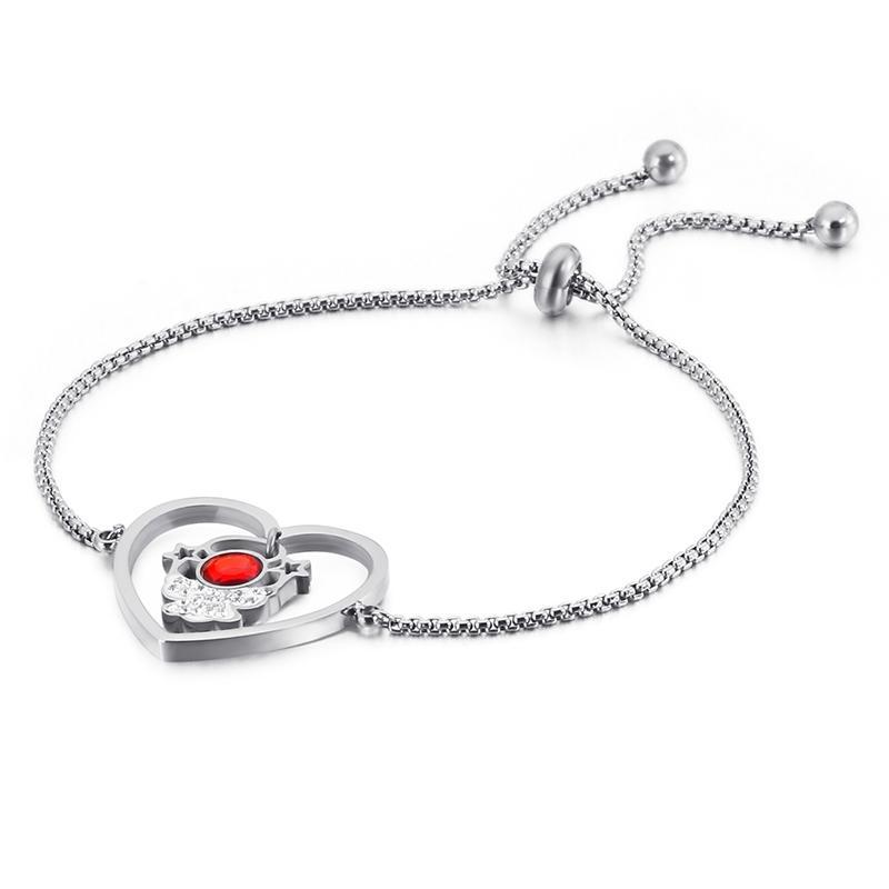 Moda Tri Cor inoxidável Pulseiras Coração de aço para Mulheres Bohemia Red Cubic Zircon Chain Link Braccialetto Jóias 2020