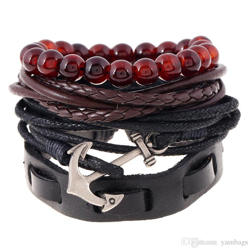4 pz / set braccialetto di fascino in pelle intrecciata multistrato perline di ancoraggio vintage gioielli per uomo donna moda fai da te corda a mano avvolgere polsini fili braccialetti