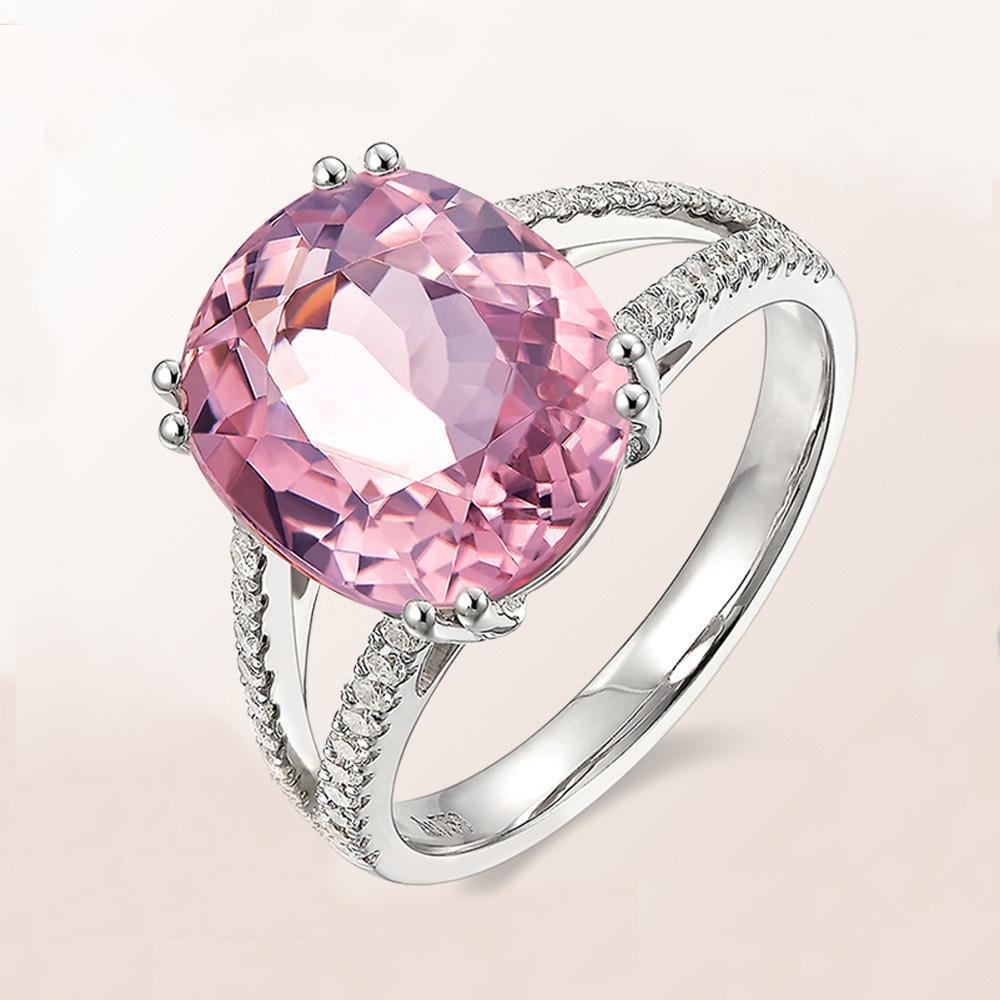 Revestimiento del oro blanco temperamento de lujo de la personalidad de color rosa anillo de circón de alta del archivo: Guerra en el paraíso populares Mujer Anillo