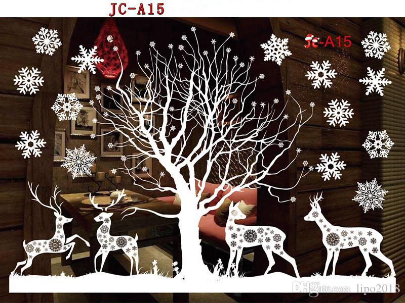 إزالة لاصق - مجانا كهرباء زينة عيد الميلاد PVC نافذة نافذة ورقة الزخرفية