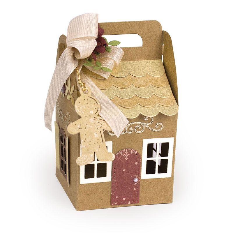 DIY عيد الميلاد البيت على شكل هدية حقيبة قطع يموت سجل القصاصات ورقة كرافت النقش لكمة استنسل قالب PI669