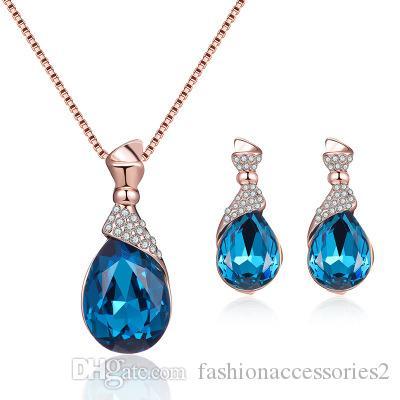 Crystal Diamond Drop Collier Boucles d'oreilles Boucles d'oreilles EnsemblesNew Blue Trésor Alliage Electroplating Diamant Diamond Rose Goutle Collier