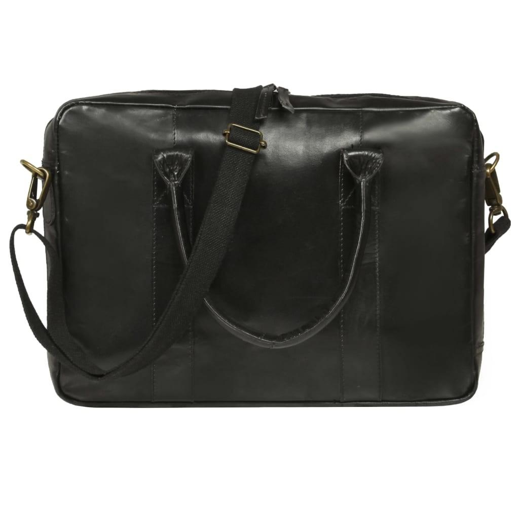 Laptop bag with zipper genuine leather black