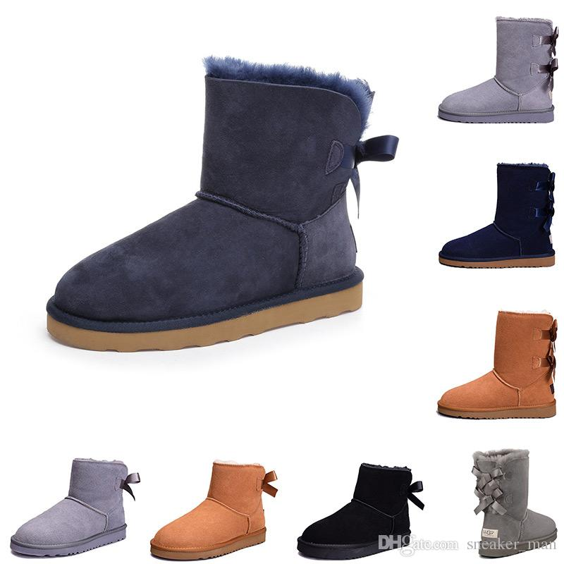 2019 2019 WGG Women Snow Winter Boots Leather Australia Classic Ankle Boots Designer Boots Black Grey Chestnut Navy Blue Pink Womens Girls Shoes From