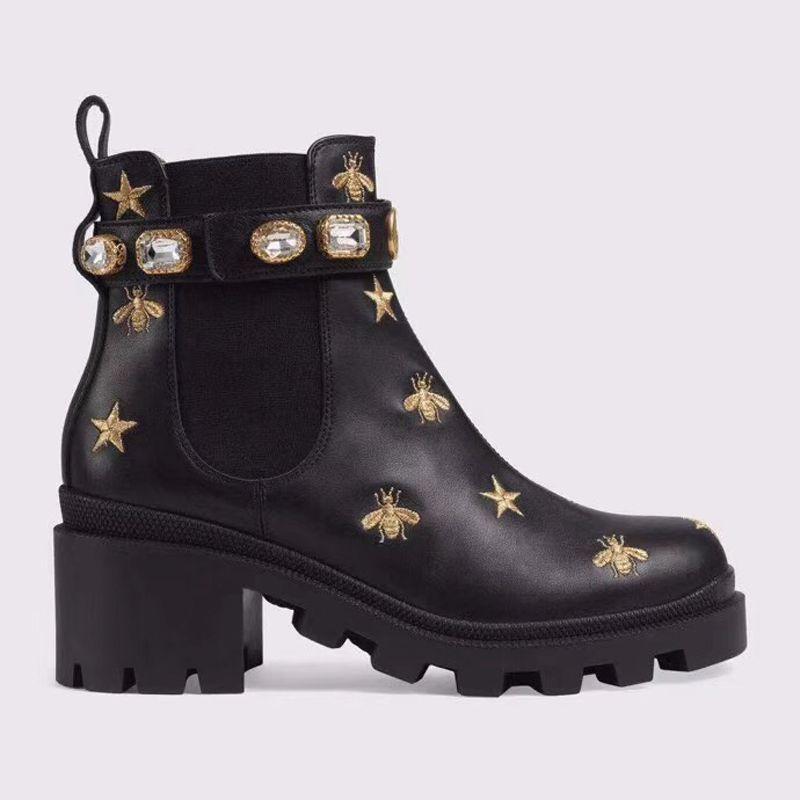 Kadının Deri ayakkabı Lace up Şerit kemer toka ayak bileği çizmeler fabrika doğrudan kadın kaba topuk yuvarlak kafa sonbahar kış Martin Çizmeler SIZE35-4