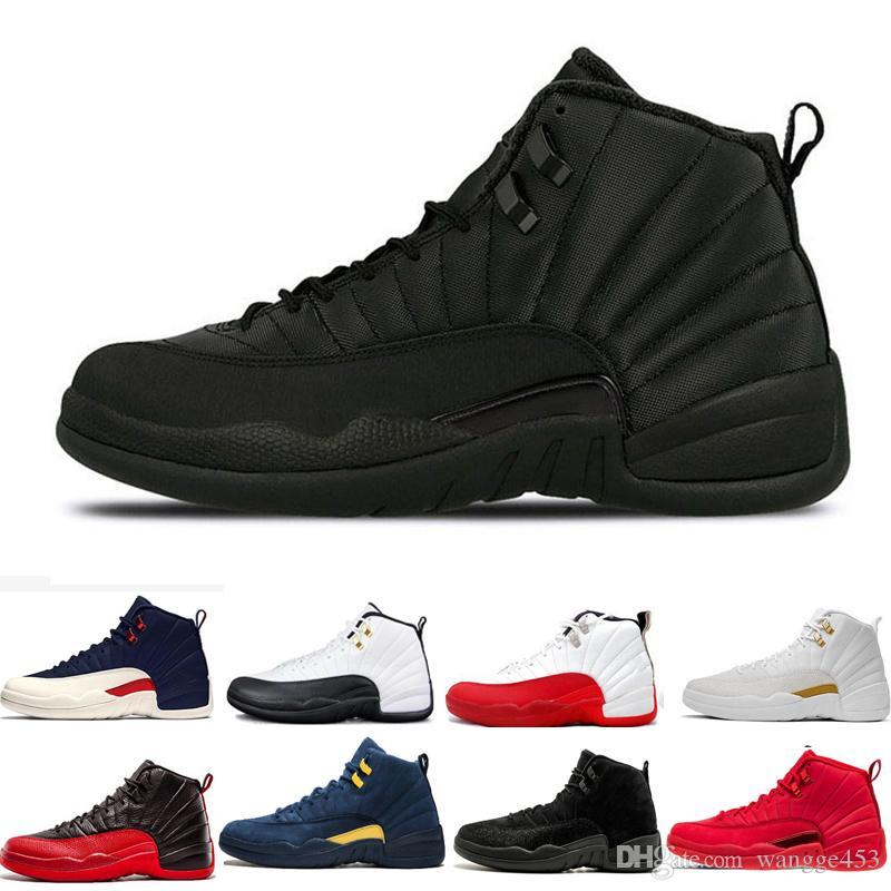 Ucuz Erkekler 12 12s basketbol ayakkabıları siyah beyaz grip Oyun Vinterize WNTR Gym Kırmızı taksi gri playoff Michigan üniversitesi mavi spor ayakkabı