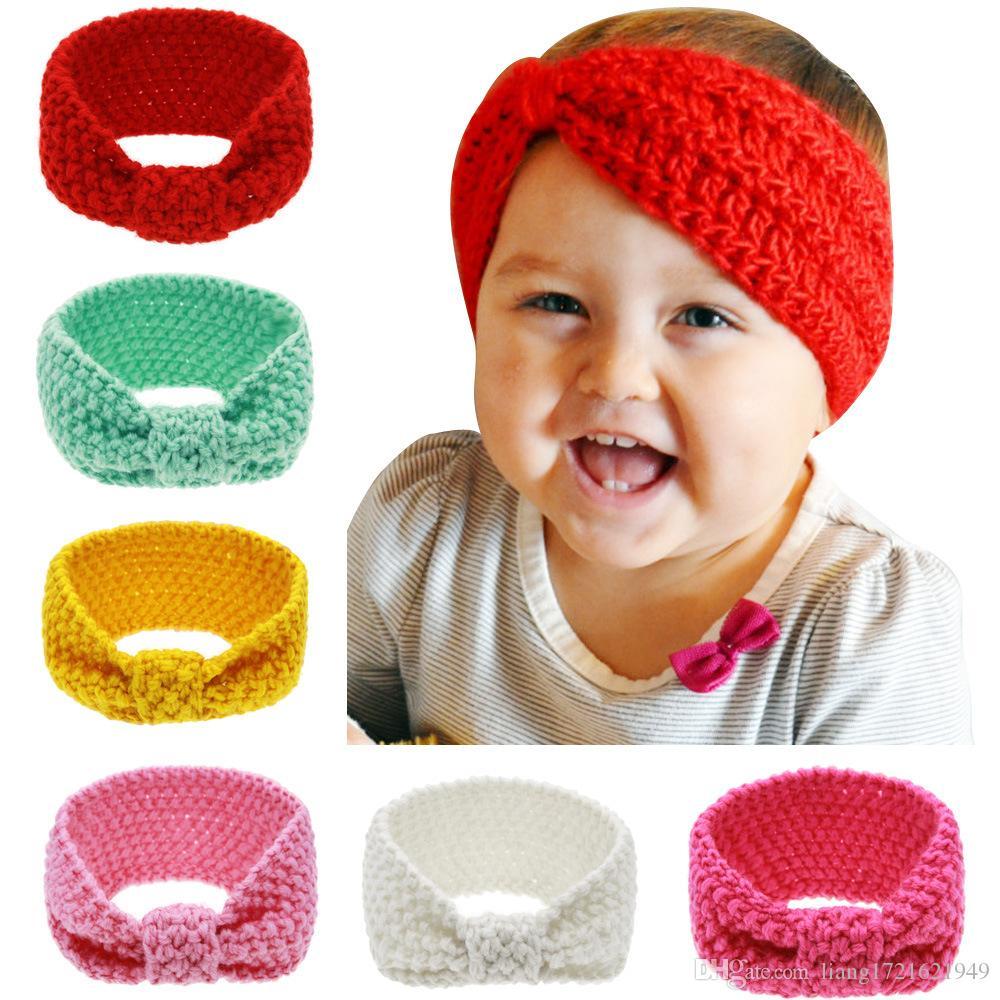 Comércio exterior nova faixa de cabelo de lã tricotada para crianças Europeu e Americano bebê bebê moda knotted headband de lã