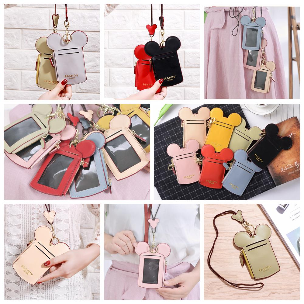 10styles Mouse Ear Wallet Kids Purse Bags Girls Zipper Key Card Holder Coin Purse Child Phone Money Pouch Kids lanyard Shoulder Bags FFA2017