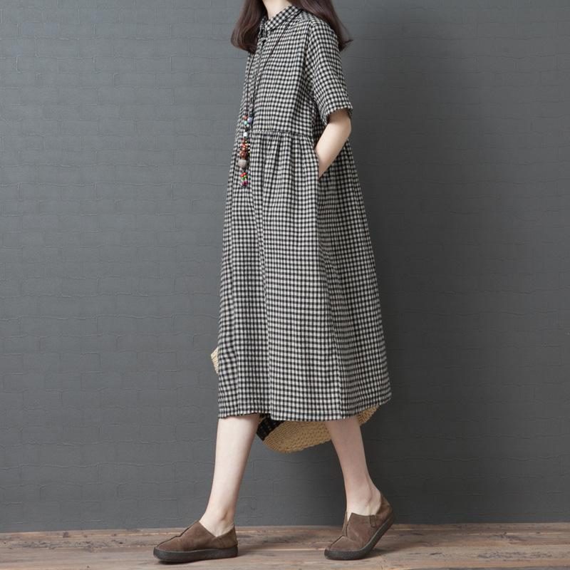 2019 Summer Cotton Will Code Easy Thin Lattice Dress Fat Mm Cover The Meat Short Sleeve Polo Lead In Longuette