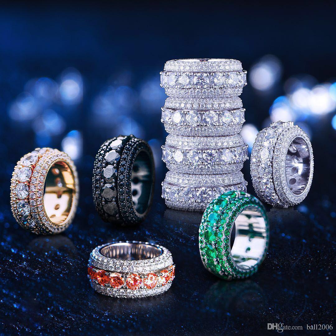 2019 Hip Hop anillo de oro para hombre helado hacia fuera anillos Micro Pave Cubic Zircon Promise Diamond anillos de dedo diseñador de lujo marca personalidad regalo