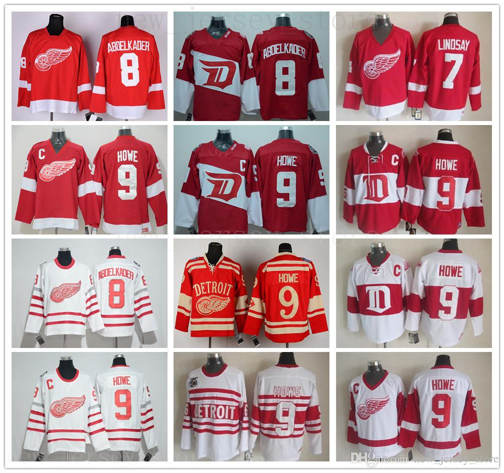 خمر CCM ديترويت ريد وينغز 9 Gordie Howe Jersey Hockey Red 7 Ted Lindsay 8 Justin Abdelkader Winter Classic White Jerseys C Patch