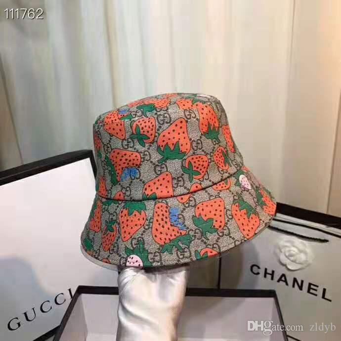 Strawberry Letter Embroidered Folding Fisherman Hat Men Women Bucket Cap Welcome