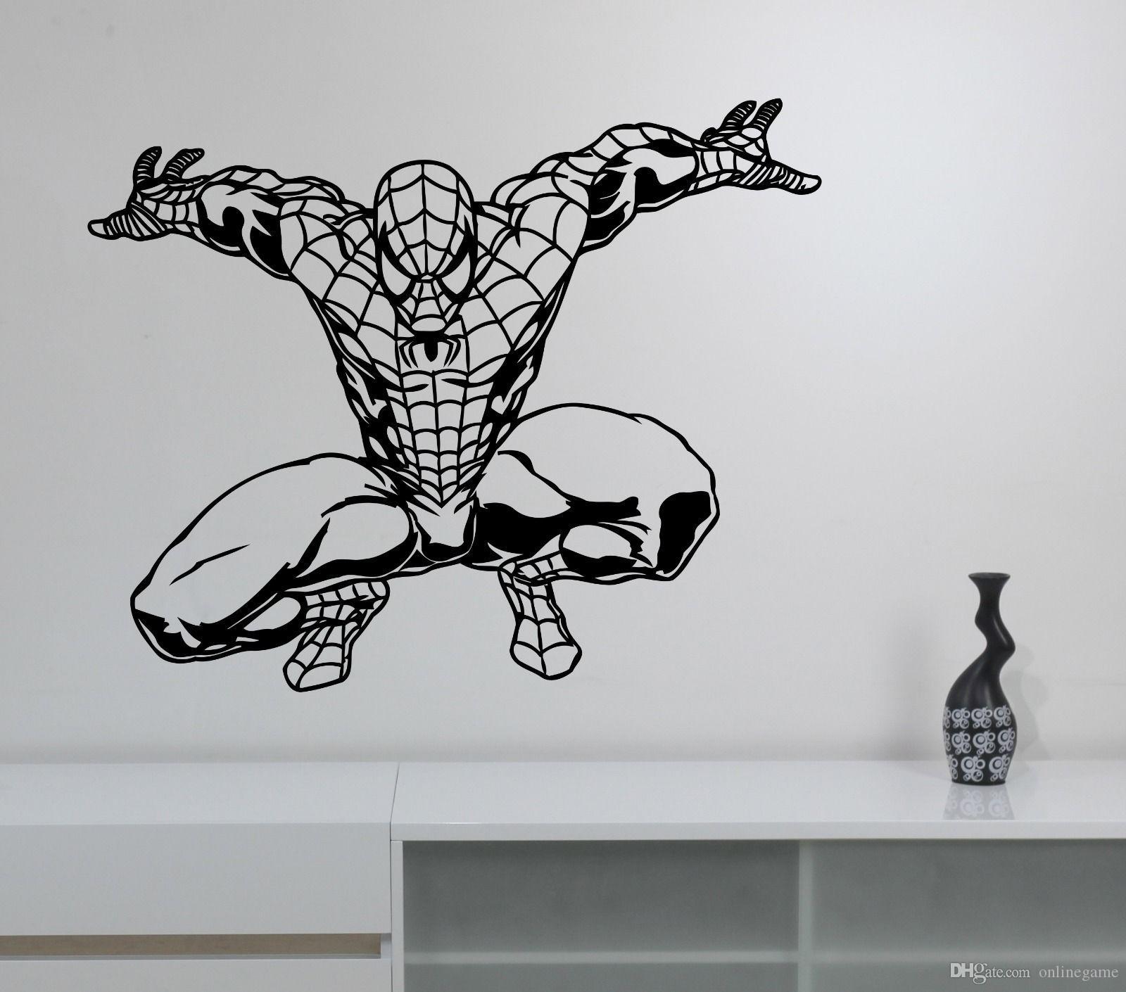 Spiderman Wall Sticker Comics Superhero Vinyl Decal Art ...