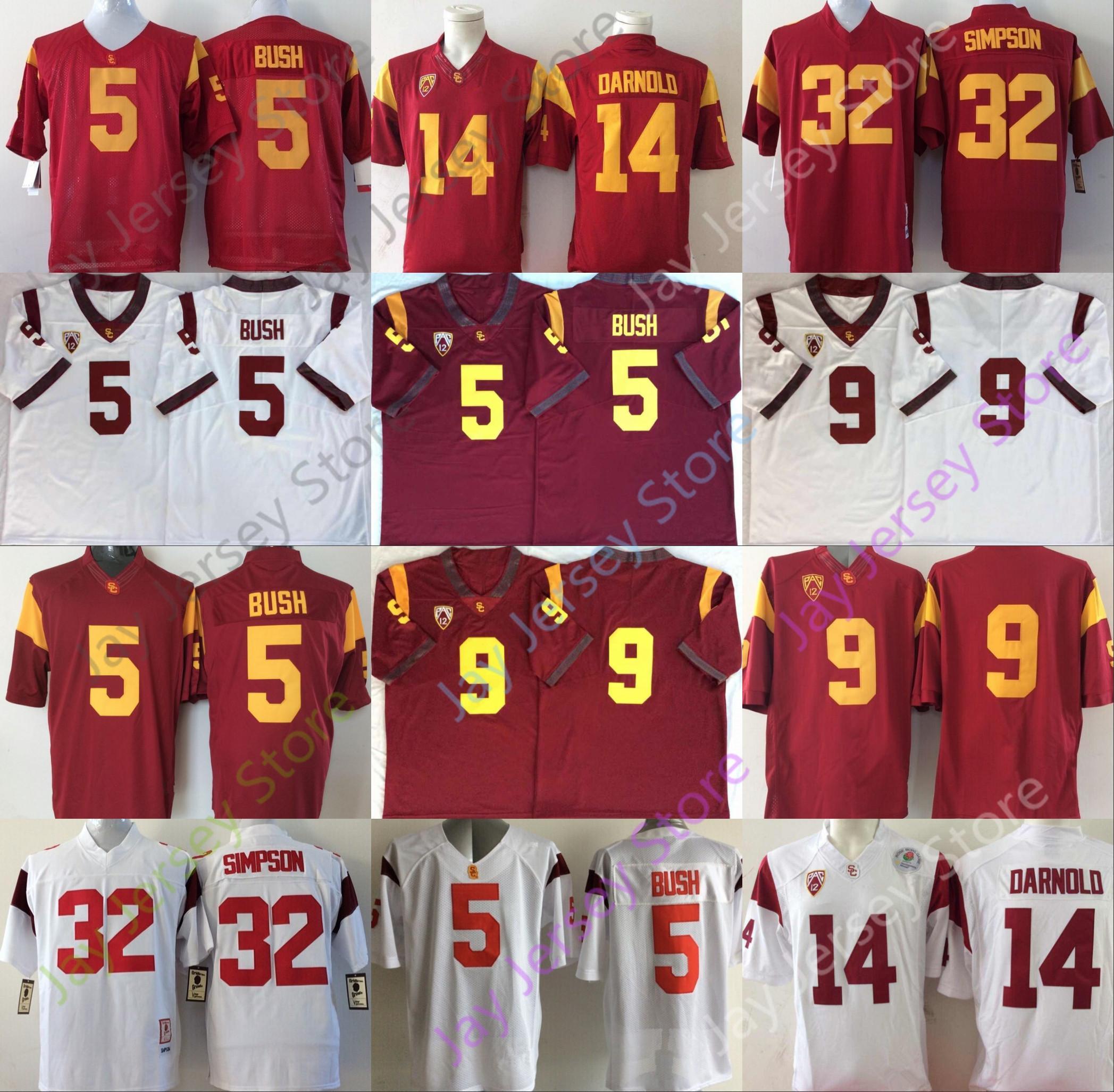USC Troans Southern California Football Jersey NCAA College 5 Reggie Bush 9 JuJu Smith-Schuster 14 Sam Darnold 32 O. J Simpson Size S-3XL