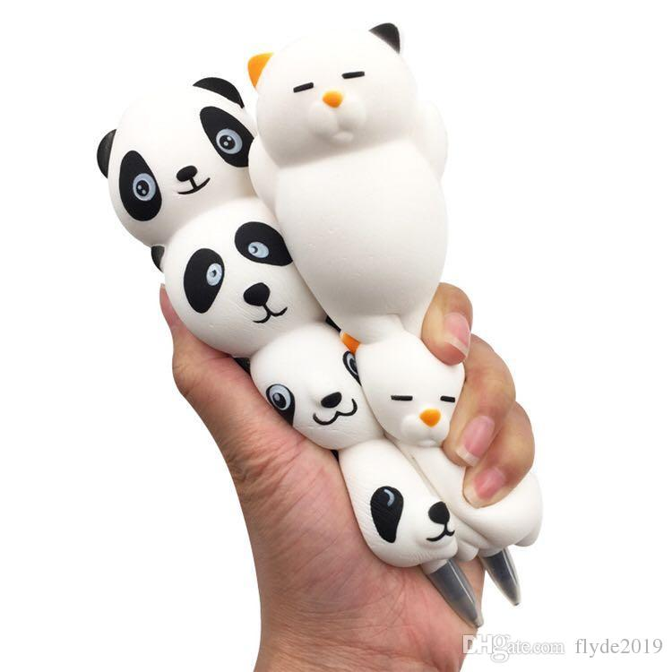 Besegad Slow Rising Squishy Pencil Cap Jumbo Squishies Ice Cream Panda Lying Cat Pen Sleeve Ball Pen Holder Topper Relieves Toy