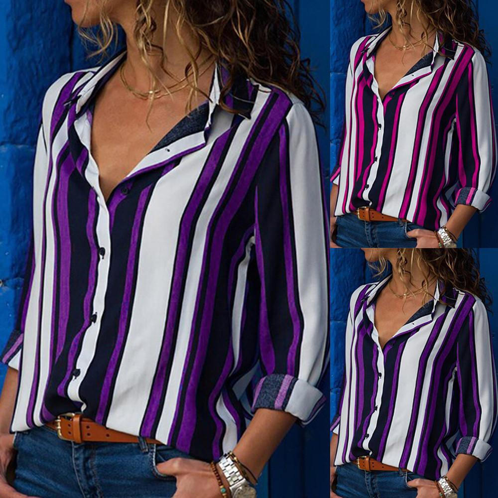 Fashionable high quality Women Casual Long Sleeve Turn-down Collar Button Up Striped Shirt turn-down collar Blouse Tops #20