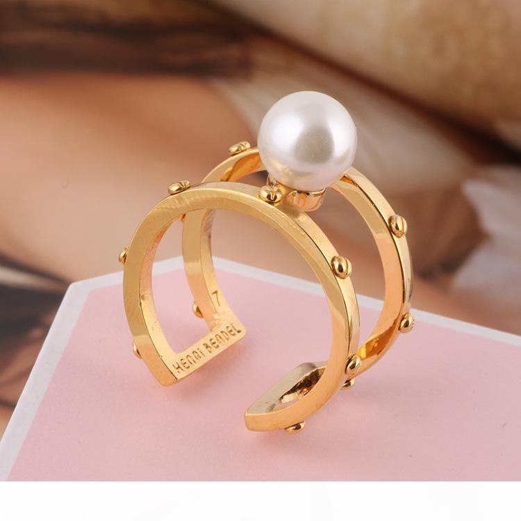 Materiale Ottone apertura anello Mid Finger snodo Anelli con la combinazione di perle perline 0.8cm primavera anelli Geometria dei monili di stile PS6426