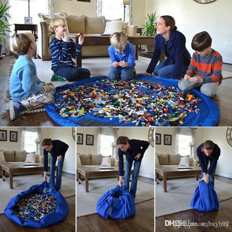 2018 Portable Kids Toys Storage Bag and Play Mat LegoToys Finishing Home Organizer Bin Box Fashion Practical Storage Bags highcapacity