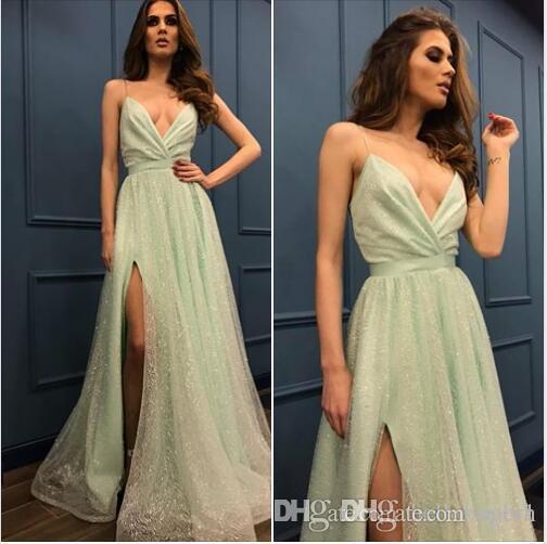 A Line Long Sequin Prom Dresses Side Cuts Sexy V Neck Elie Saab Dresses Formal Dresses Evening 2018