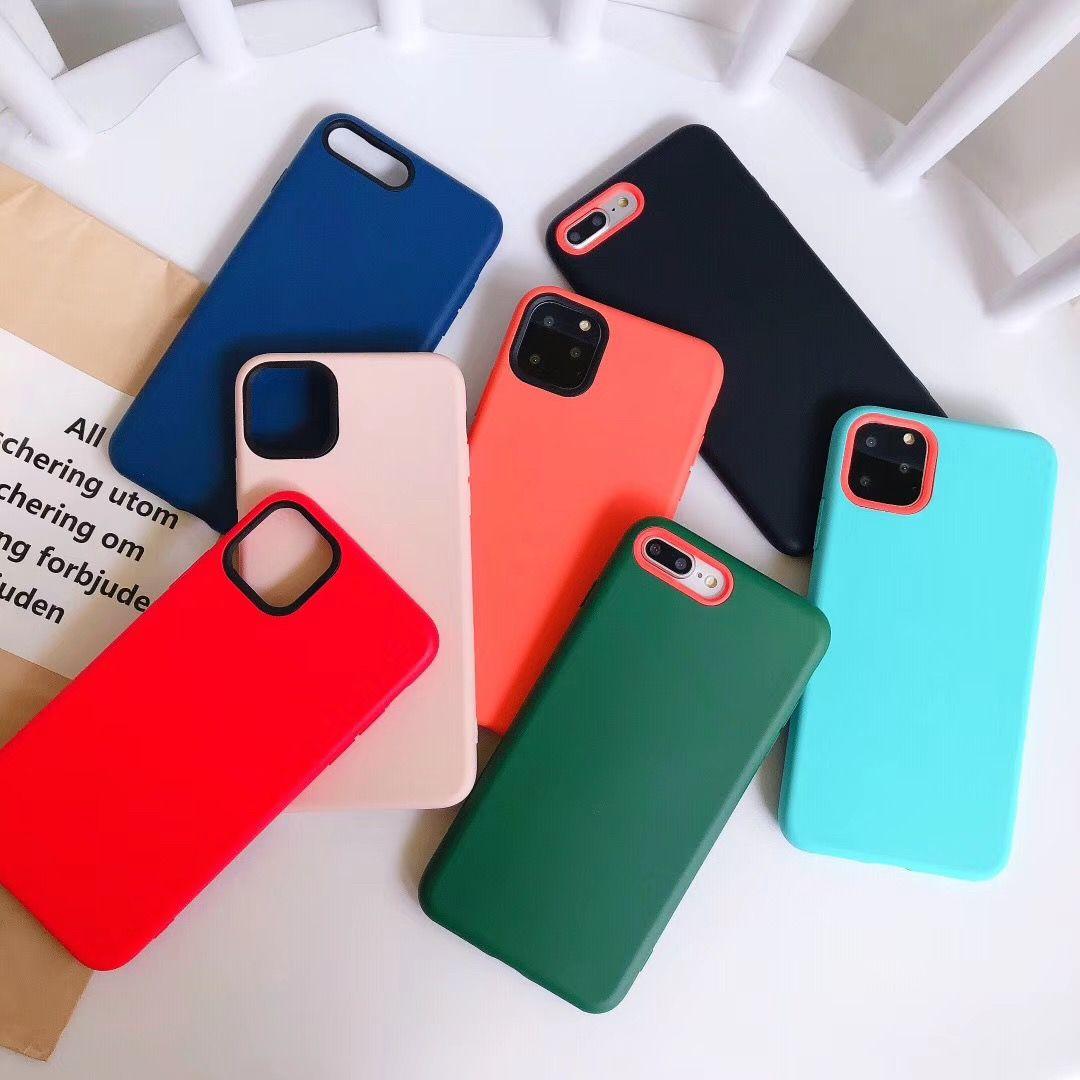 Moda Saf Renk Katı Silikon Kılıf iphone 11 Pro Max Yumuşak TPU Koruma Kapak iphone 6 6 s 7 8 XS XR