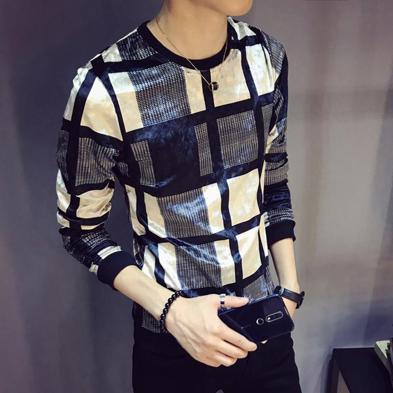 2019 Autumn Luxury Men Velour T Shirt Lattice Printing T Shirt Homme Club Outfit Men Slim Fit Long Sleeve O Neck Velvet T Shirt V200327