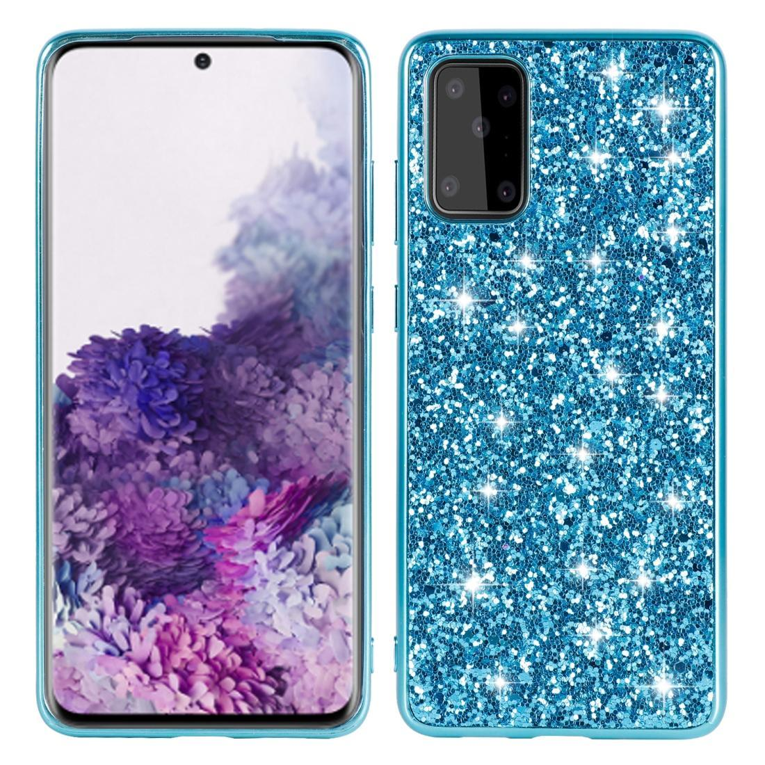 For Galaxy S20+ Plating Glittery Powder Shockproof TPU Protective Case