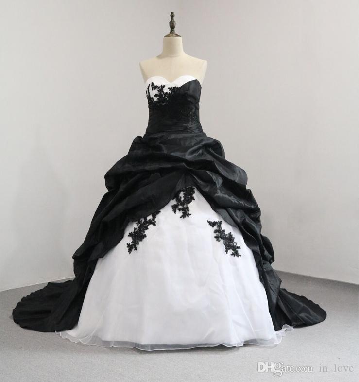 White And Black Ball Gown Vintage Wedding Dresses Strapless Black