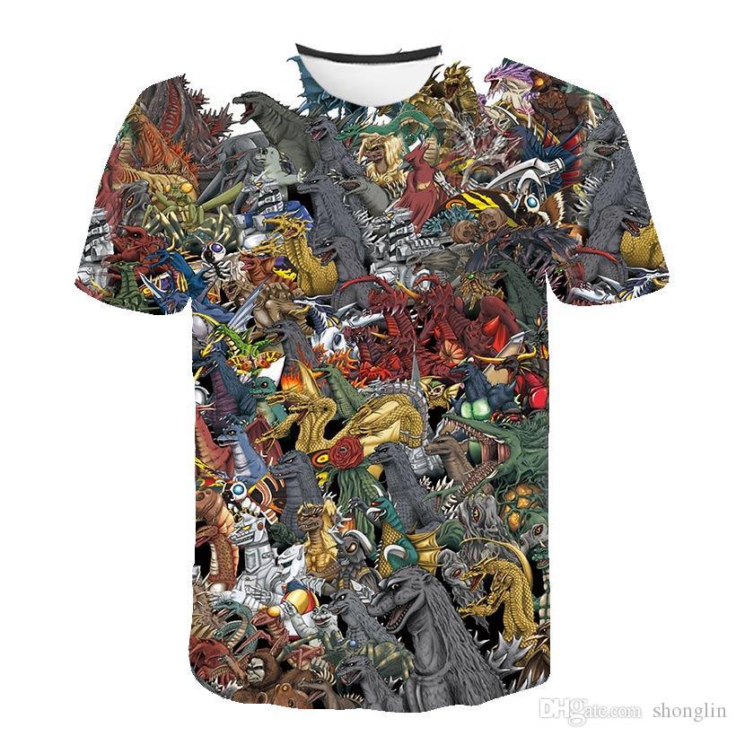 Straße Persönlichkeit Hip-Hop-T-Shirt Cartoon-Film 3D-Druck-T-Shirt Jacke kurze Ärmel Sommer kühl Mann Jacke # 4574785