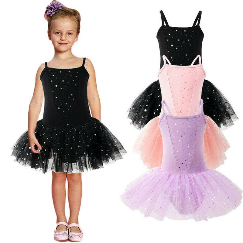 Child baby girl ballet dance gymnastic leotard star sling mesh gauze dance skirt