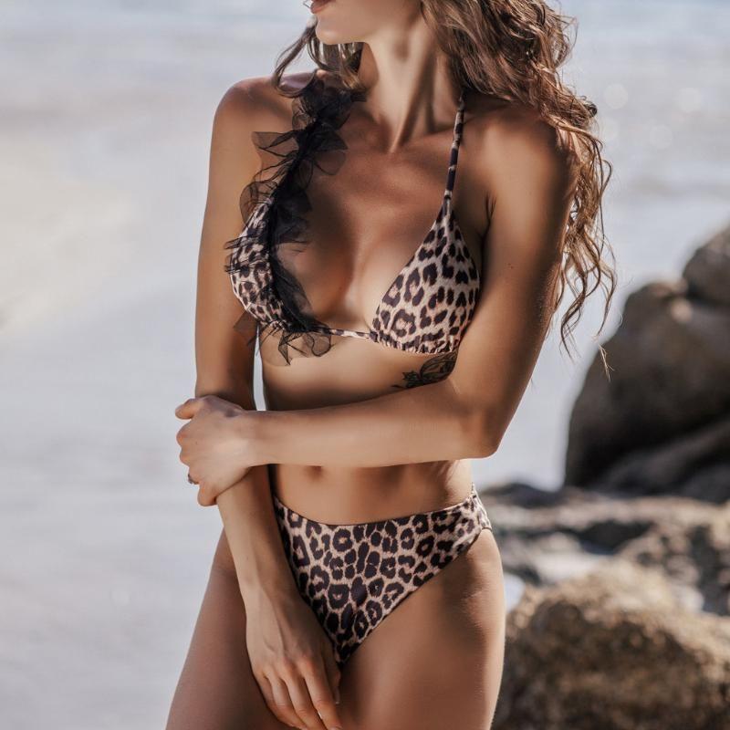 Traje de baño atractivo de las mujeres 2020 mujeres del estampado leopardo de push-up Sujetador de bikini traje de baño determinado Swimwer de natación del bikiní atractivo Wowen