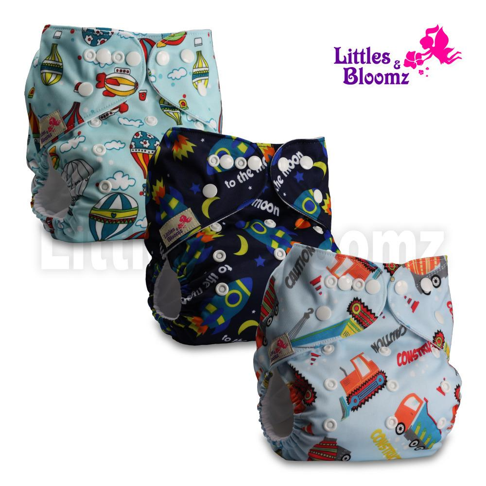 [Littles&Bloomz] 3pcs/set Baby Washable Reusable Real Cloth Pocket Nappy, 3 nappies/diapers and 3 microfiber inserts in one set CJ191217