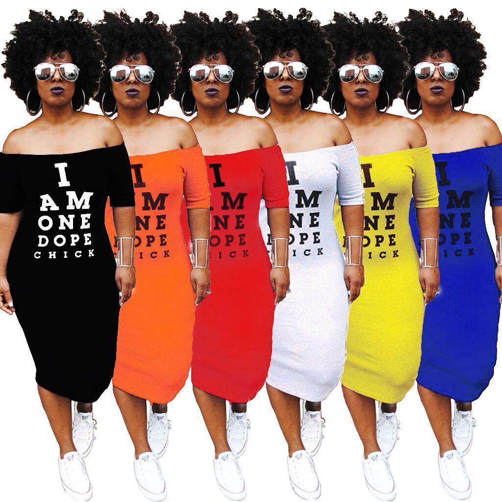 النساء معطلة الكتف مثير T قميص اللباس رسالة طباعة القطع الرقبة ضمادة اللباس الصيف كم قصير عارية الذراعين منتصف العجل اللباس