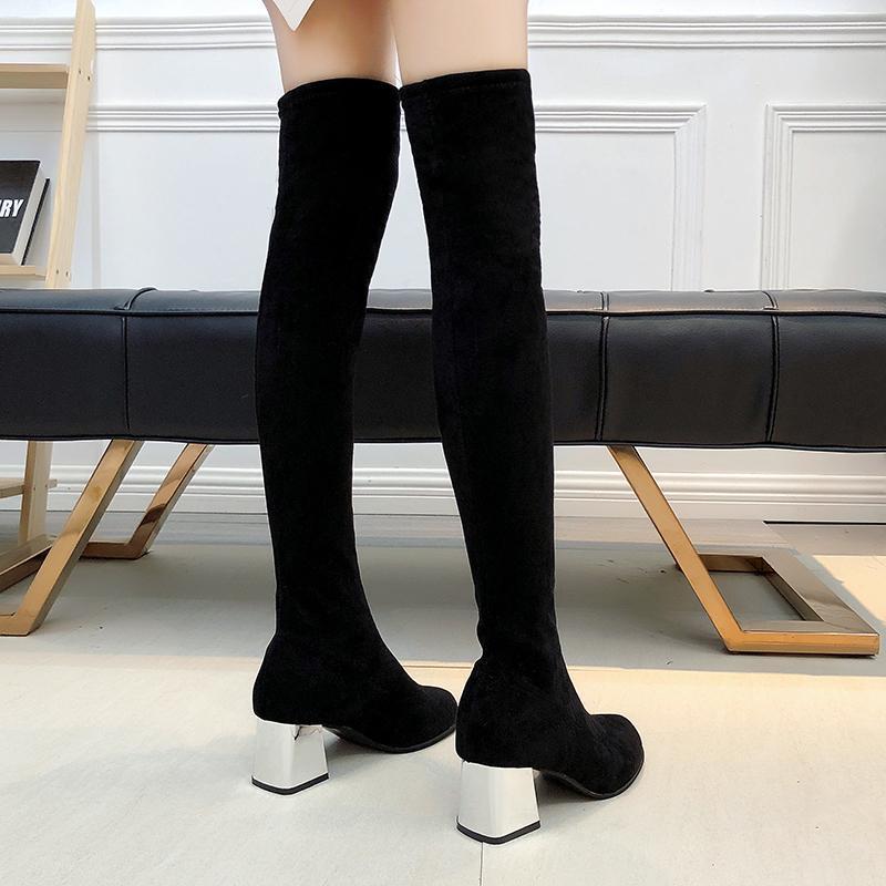 Boyut 35-43 Kış Over The Knee Boots Stretch Kumaş Kadınlar Uyluk Yüksek Seksi Kadın Ayakkabı Uzun Bota Feminina MX200324