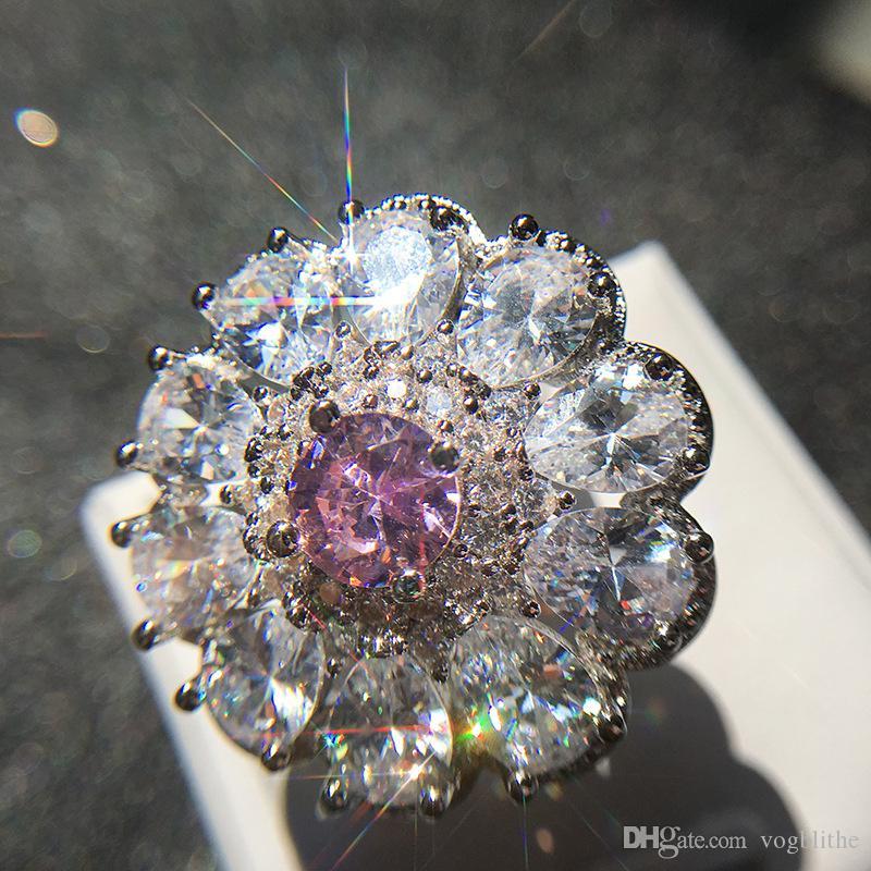 Iperbole European Flower Zircon per le donne personalizzati Charm Wedding Ring Aneis feminino Fashion Party Size Jewelry 6-10