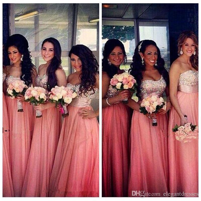2019 Sweetheart One Shoulder Sparkly Coral Long Crystal Beaded Draped Chiffon Bridesmaids Wedding Party Dress Peach Vestidos Honor Of Maid