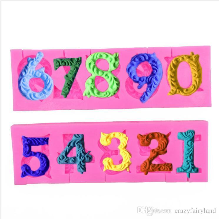 Accesorios de cocina Moldes de Chocolate 9 Letras Número Forma Fondant Cake Soap Moldes Plantillas de pastelería Envío Gratis