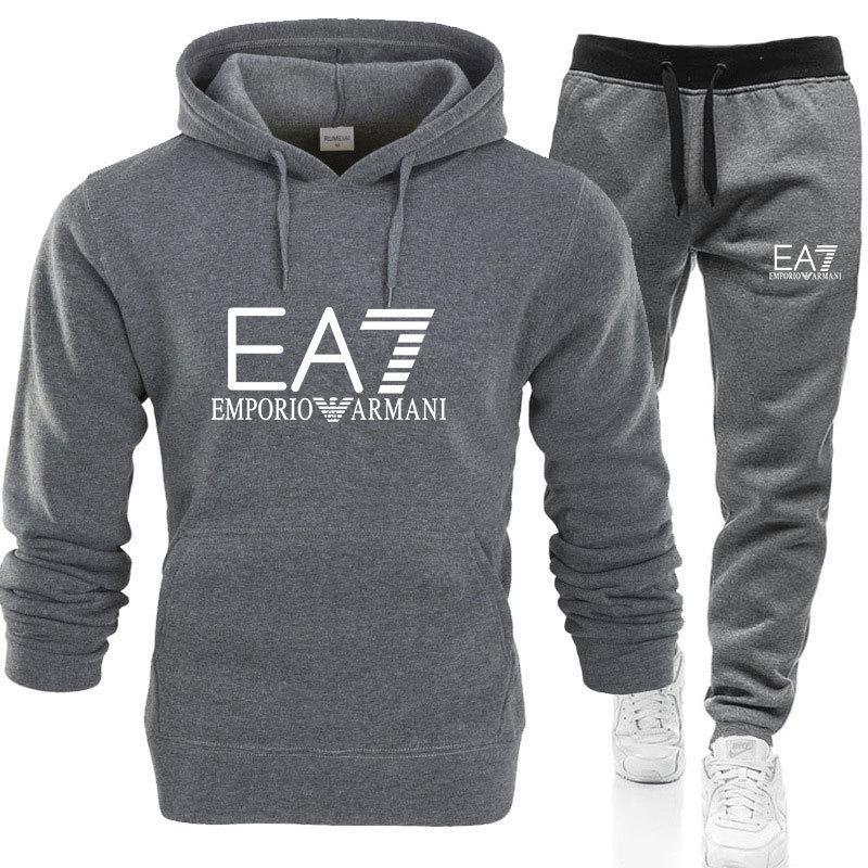 Livraison gratuite Les hommes de sport Costumes sweat à capuche Survêtement Sweat + Pantalons Set E Homme Pull A Coat Casual Tennis Sport Survêtement 7 Autres couleurs