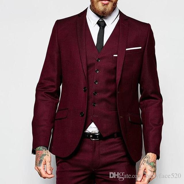 Burgundy Party Men Suits for Wedding Evening Tuxedo Notched Lapel Three Piece Wedding Groom Tuxedos Custom Made (Jacket + Pants + Vest)
